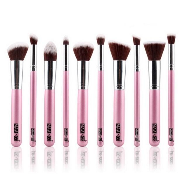 Superiores Cosmético Profesional Del Maquillaje Suave Set Pro Kits 10 Unids/set Cepillos Kabuki Cepillo Cosméticos de Maquillaje Herramienta GUB #