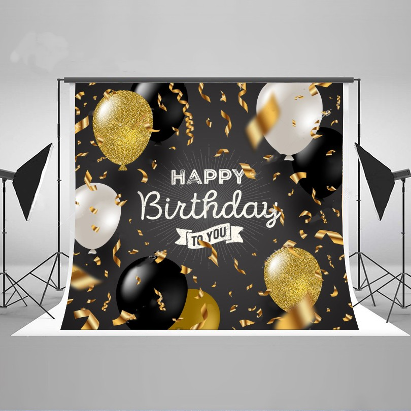 Happy birthday Black White Glitter Gold Balloons Backgrounds Vinyl cloth Computer printed party backdrop happy new year light winter fireworks stars photo backdrop vinyl cloth computer printed children backgrounds