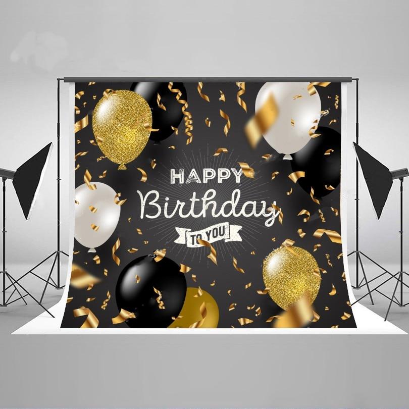 Happy birthday Black White Glitter Gold Balloons Backgrounds Vinyl cloth Computer printed party backdrop гирлянда happy birthday 1 6 метра