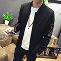 Корейских Мужчин Случайные Куртка Весна 2017 Slim Fit мужские Куртки Весна Кран Вышивка С Длинным Рукавом Бомбардировщик Куртка Человек Пальто 5XL-M