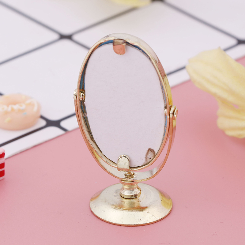 Miniature 1/12 Metal Scale Dolls Bathroom Furniture Toy Accessories Doll House Vintage Gloden Vanity Mini Mirror