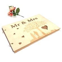 Libro de firmas para invitados de boda, cuaderno de madera de pareja, Vintage, marco de fotos Mrs Mr, diario de madera, decoración para fiesta de boda