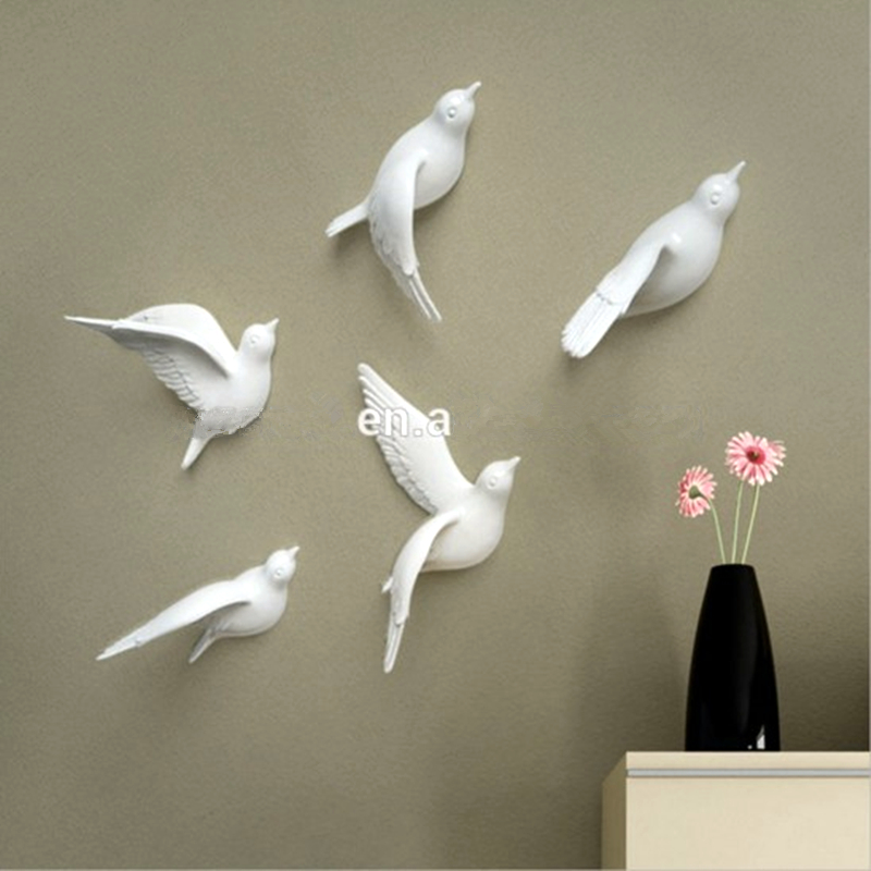 Set of 5pcs 3d resin arts and crafts bird wall decoration for Art and craft decoration