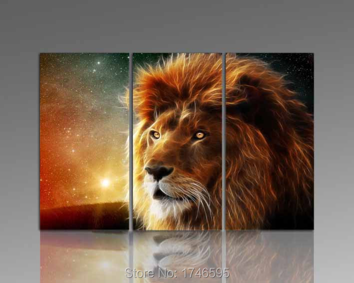 Modern Canvas Hd Printed Painting Frame Modular Pictures Home Decor 5 Panel Animal Lion Poster For
