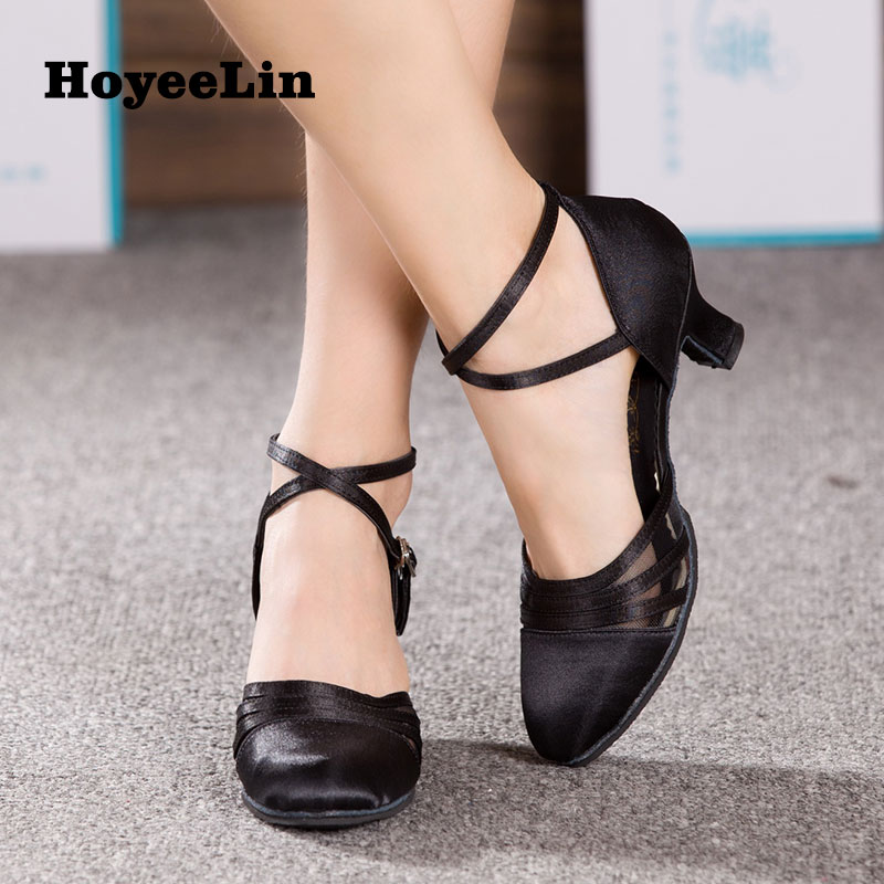 Image 3 - HoYeeLin Dance Shoes for Sale Women Ladies Ballroom Party Tango Waltz Satin Dancing Shoes Heeled 5.5cm Black-in Dance shoes from Sports & Entertainment