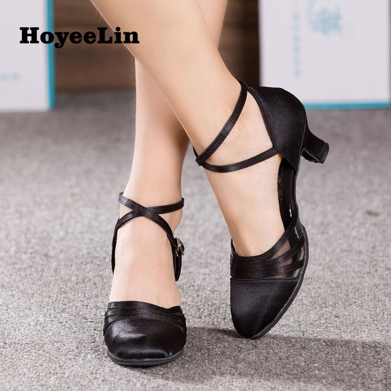 HoYeeLin Dance Shoes for Sale Women Ladies Ballroom Party Tango Waltz Satin Dancing Shoes Heeled 5.5cm Black