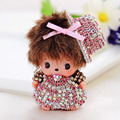 Cute Lovely Baby Handsome Monchichi Keychains Pompom Keychain Crystal Rhinestone Key Finder Car Charms For Women