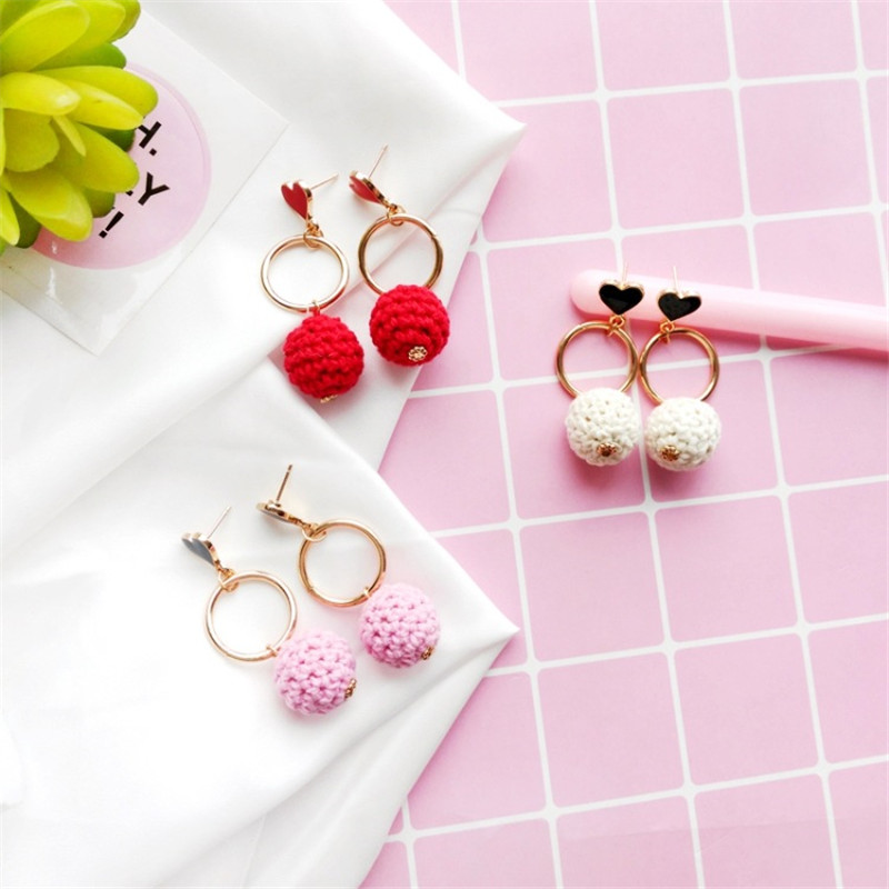 Japan and South Korea hand-knitted Hairball earrings geometric round earrings students heart shaped earrings ear jewelery wholes
