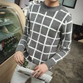 Plaid Mens Sweater 2016 New Autumn Fashion Brand Casual Sweater O-Neck Collar Slim Fit Knitting Mens Sweaters And Pullovers