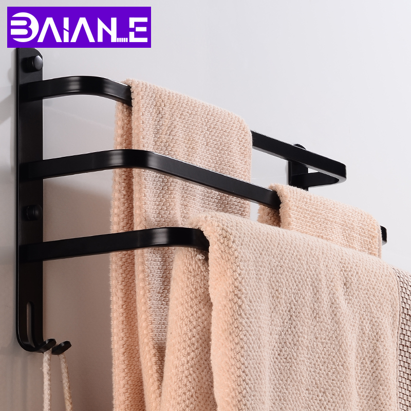 Bathroom Towel Bar Holder Black Aluminum Three Layer Towel Rack Wall Mounted Towel Rail Hanger With Hooks Bathroom Shelf Shower