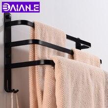 цена Bathroom Towel Bar Holder Black Aluminum Three Layer Towel Rack Wall Mounted Towel Rail Hanger with Hooks Bathroom Shelf Shower онлайн в 2017 году