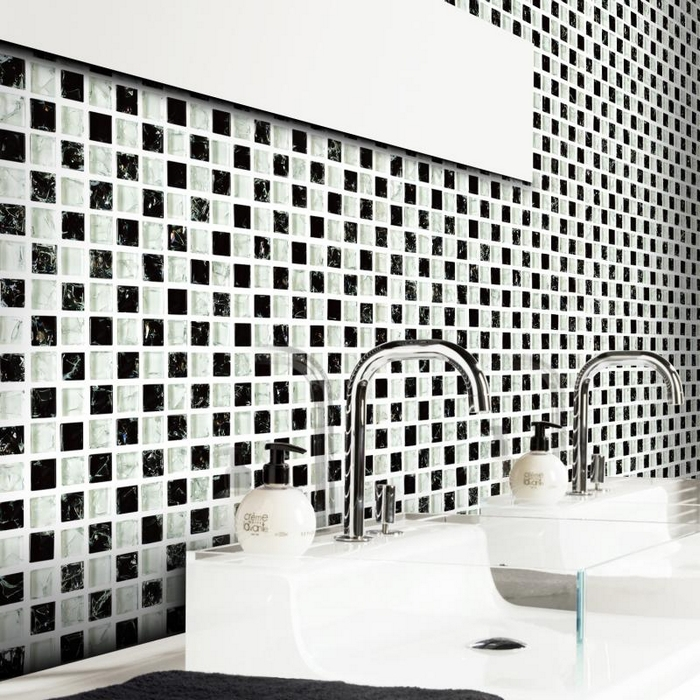 White Mixed Black Square Crystal Gl Mosaic Tiles Ice Le Bathroom Shower Bedroom Wall Kitchen Backsplash In Stickers From Home
