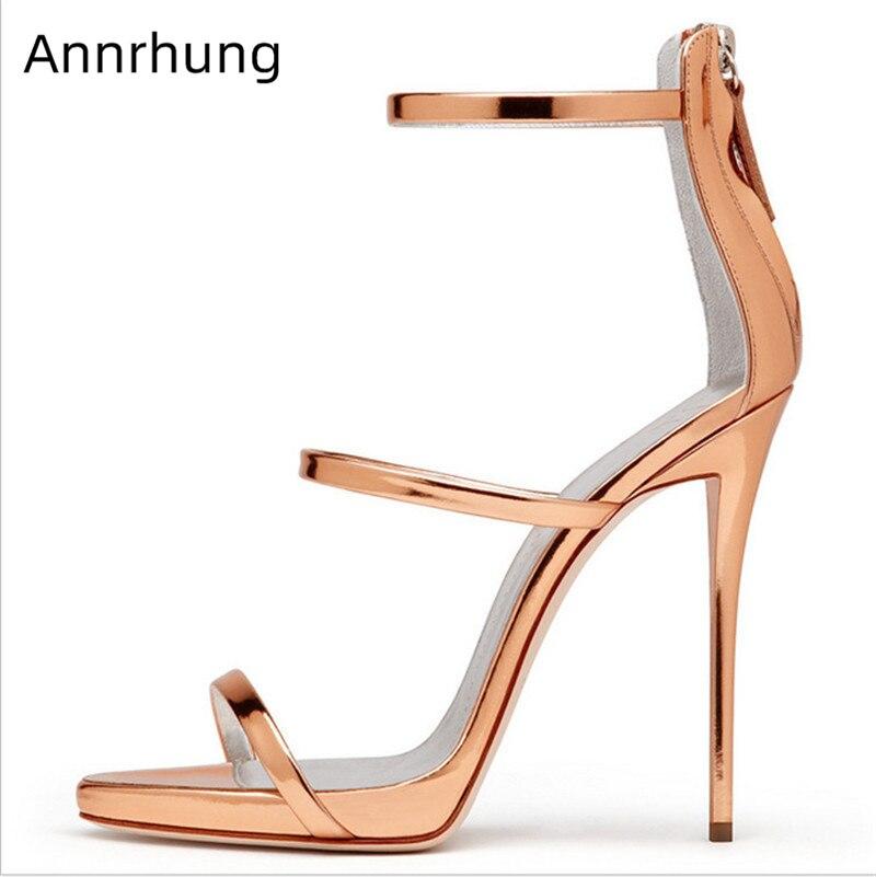 12 cm talons hauts gladiateur Snadals femmes chaussures Sexy une sangle bande étroite sandales talon aiguille chaussures de piste piste Sandalias