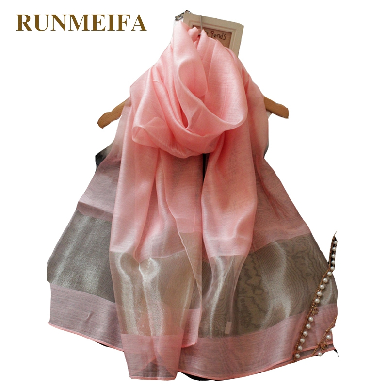 Runmeifa Hot Sale Women New Spring Summer Style Gold Silk Yarn Golden Long Silk Scarf Shawl Female Apparel Accessories