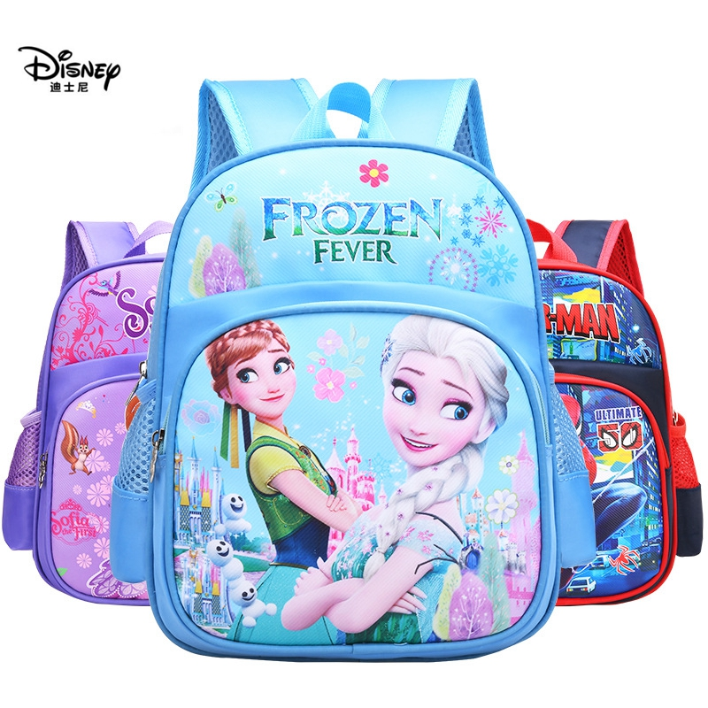 Disney Children's Bags Reduced Weight Protected Spine Breathable Boys And Girls 3-8 Years Old Cartoon Cute Schoolbags F