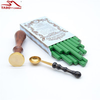 Bright Green Wax Seal Sticks In Rod Shape 7 100mm With 25mm Custom Made Stamp For