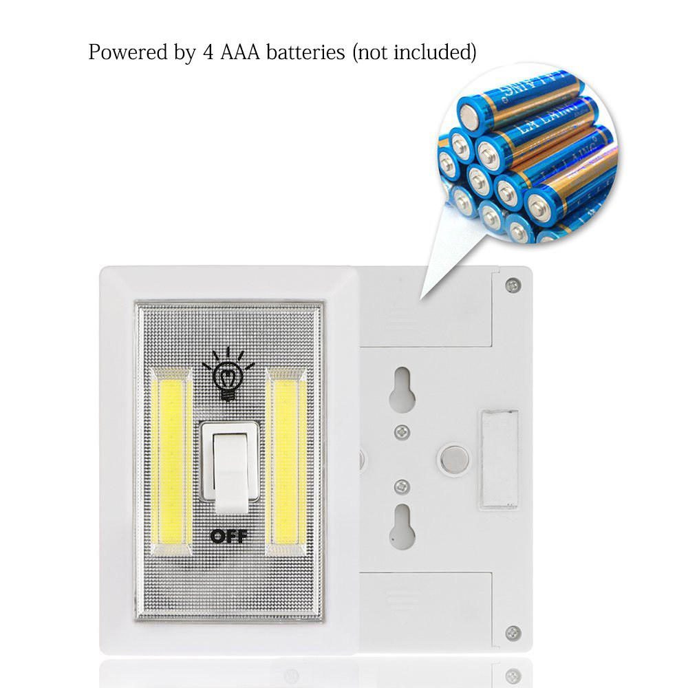 Wiring Diagram For Wall Lights 6w White Light Double Cob Led Switch Night Ford F150 Remote Start Battery Operated Cordless On Off Portable With Magnetic Sticker In From