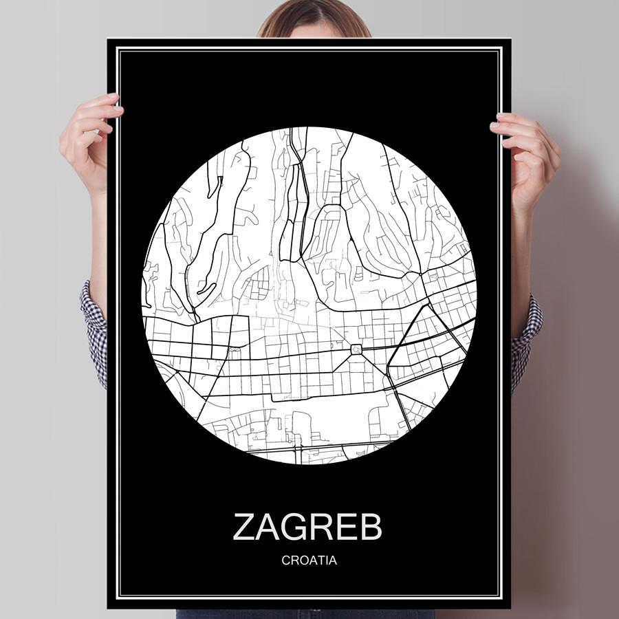 ZAGREB Kroatische Schwarz Weiss Stadt Karte Drucken Plakat Druck Auf Papier Oder Leinwand Wandaufkleber Bar