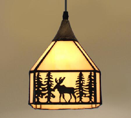 Tiffany glass elk pendant light simple study bar creative Tiffany Mediterranean Restaurant 1/3 heads pendant lamps ZA
