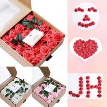 Искусственные цветы коралловые розы 50 шт. для Свадебная церемония, вечеринка поддельные цветы украшение дома сад поддельные розы DIY MAR8