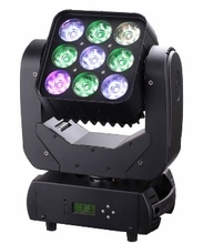 8pcs/lot professional stage light 9*10w 4 in 1 led beam moving head matrix light for disco light mini projector