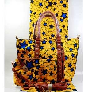 Image 4 - Micle Fashion african wax bag sets 3 pieces/set ankara wax handbag matching 6 yards real best soft new wax fabric