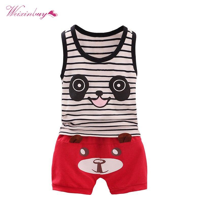 Baby Boy Summer Set Newborn Suits Cotton Cute Sportswear Striped Vest Suit Shorts