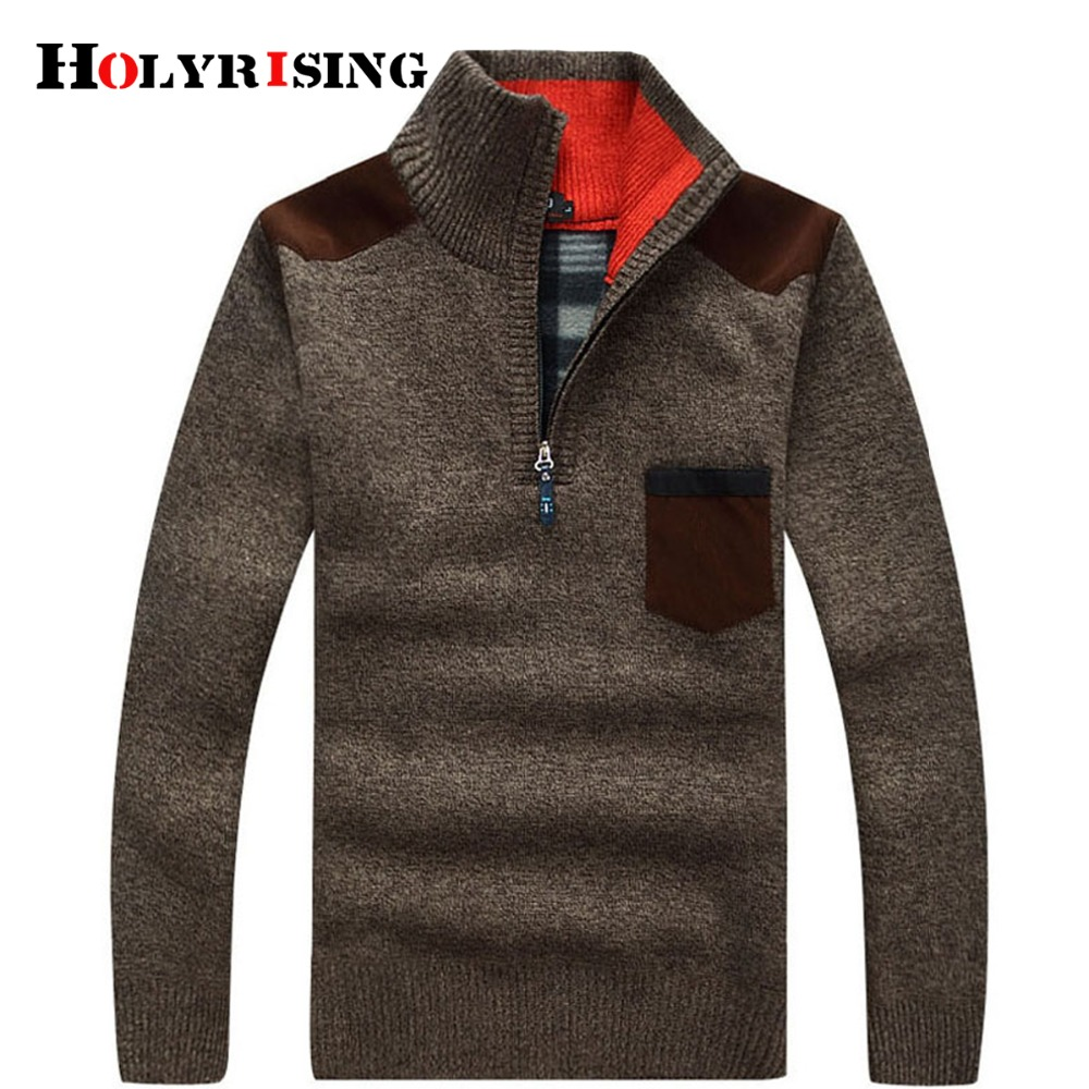 Holyrising Men Pullover Cashmere Wool Sweaters Man Casual Knitwear Fleece Velvet Outwear Pull Homme Jersey Hombre Big Size 15724