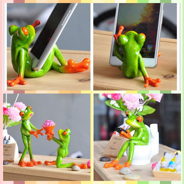 Free Shipping Funny Frog Figures Office Series Phone Pen Rack Resin Toys  Cake Car Office Desk
