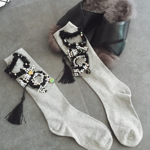 Calcetines de navidad Calcetines de Venta Directa Nuevo 2016 de La Moda Y El Viento de Perforación de Lentejuelas Con Cuentas Borlas Brillante Chica Montones De Mujeres