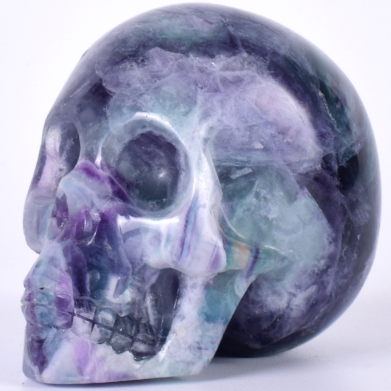 Decor Skull Statue Figurine Hand Craft 3 Natural Fluorite Gemstone Mineral Carved Realistic Stone Healing Home