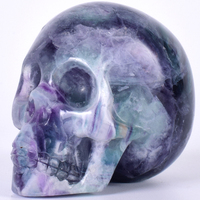 Decor Skull Statue Figurine Hand Craft 3 Natural Fluorite Gemstone Mineral Carved Realistic Stone Healing Home Art Collectible