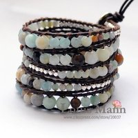2011 newest handmade 5 wrap amazone bracelet on brown leather with wholesale and retail
