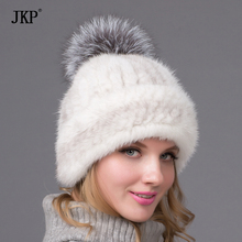 2016 new winter warm hat selling real mink fur ball cap with copious female beanie knit cap with lining new fashion color 3 2016 new fashion warm cover ear animal feux fur hat cap