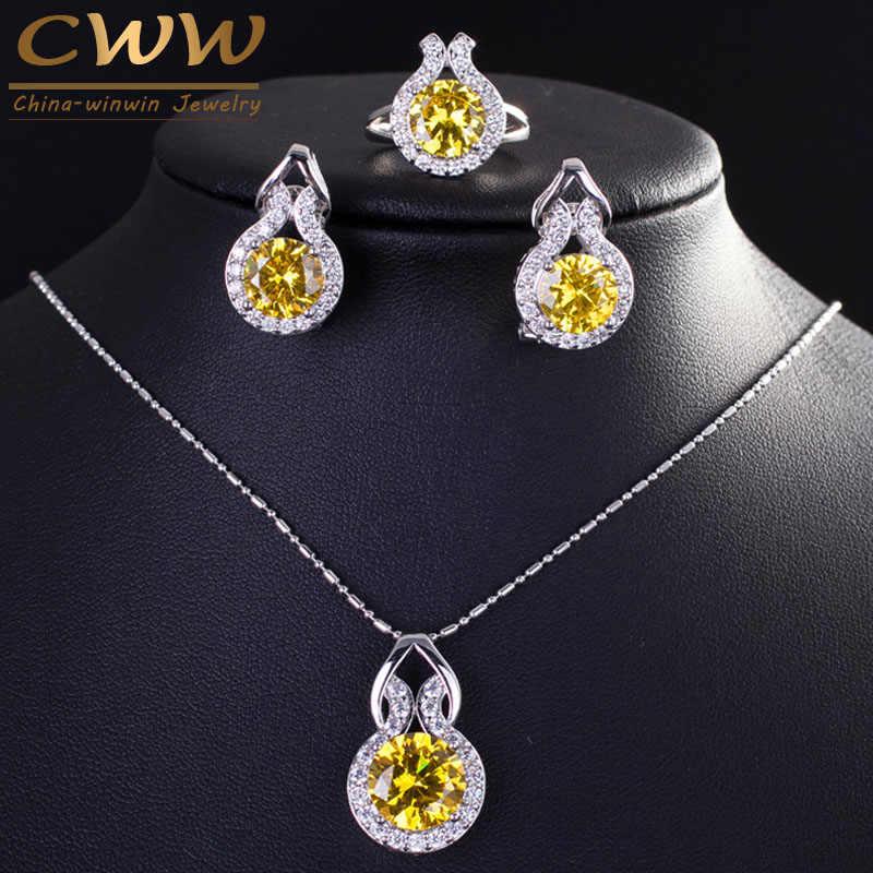 9 opções de cores espumante amarelo zircônia cúbica brinco e colar moda feminina prata esterlina 925 conjuntos de jóias t199
