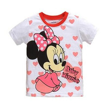 Baby girl Children T Shirt cartoon mouse Cotton summer Short Sleeve For child T shirt Tops Clothing for 2-7 year girls