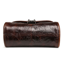 New Vintage Trend Women Oil Wax Genuine Leather Cowhide Embossed Casual Crossbody Shoulder Bags