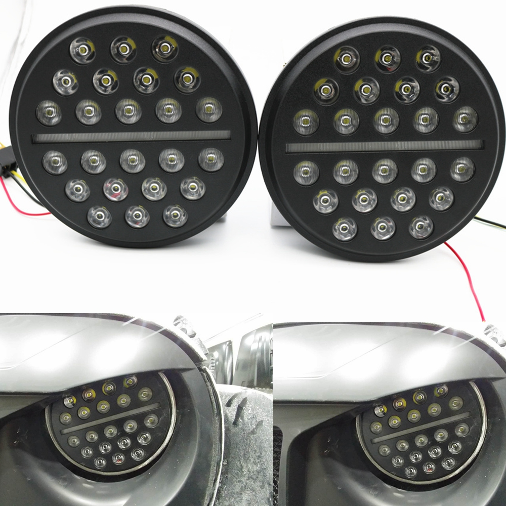 цена на 2pcs For Jeep Wrangler JK TJ 72W 7inch Round LED Headlight H4 High/Low beam Auto Headlight With White DRL For Hummer Defender