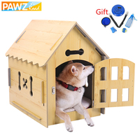 Domestic Delivery Cute Pet Dog Wood House Detachable Reversible Dog Kennel Bed Kitten Play Toys Small Dog Cat House Pet Supplies