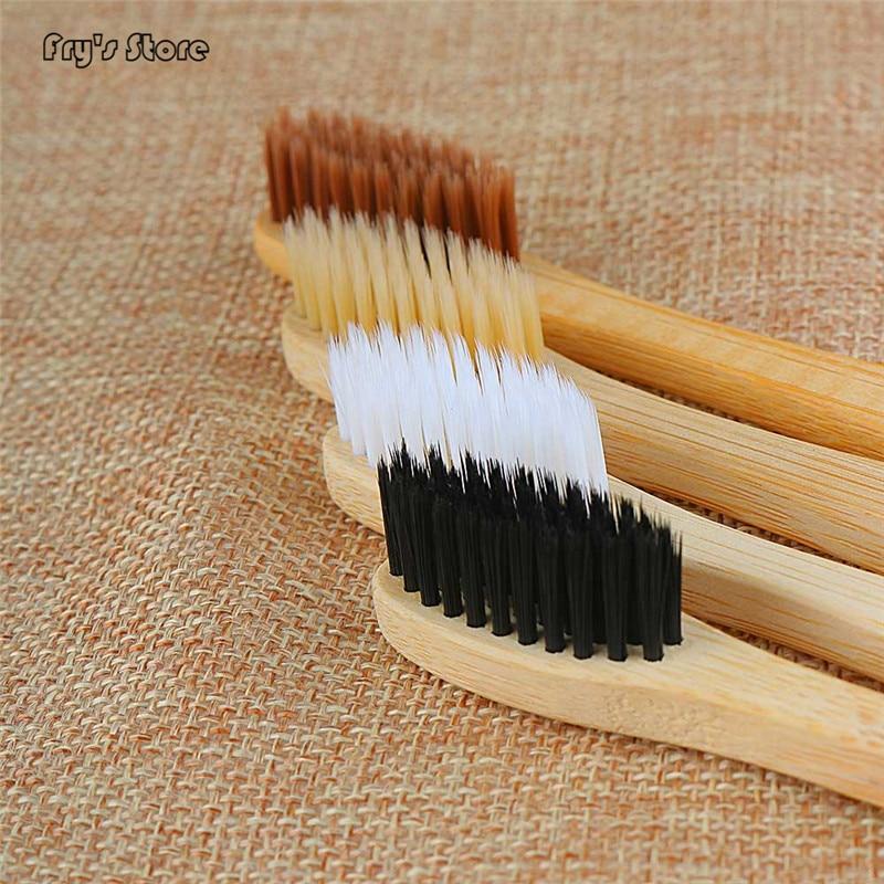 Случайный цвет Bamboo Зубная щетка из древесного угля для орального здоровья низкоуглеродистой средней мягкости щетины деревянной ручкой зуб...