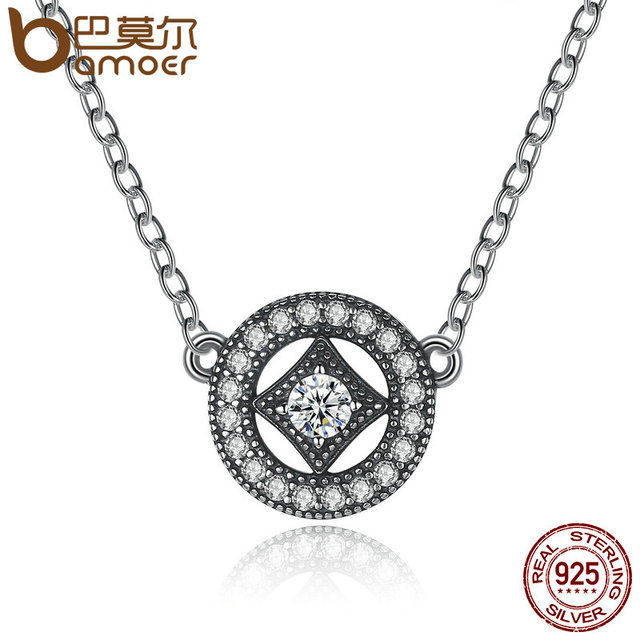 Sterling Silver Vintage Dazzling Allure Zircon Necklaces