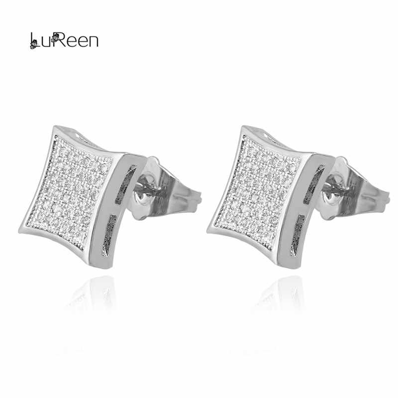 59b5f5d58 ... LuReen Hip Hop Gold Silver Earrings Men Rhinestone Micro Pave Cz Square  Shape Stud Earrings For ...