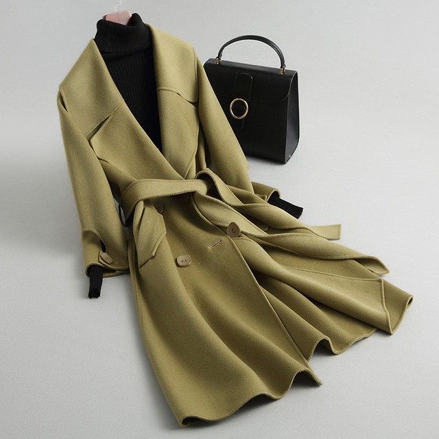 여자 고품질 양면 코트 2020 가을 겨울 새로운 기질 슬림 울 재킷 코트 여자 긴 모직 코트