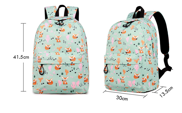 WINNER Fox Pattern Printing Backpack Female Travel Daily Laptop Student School Backpack Water  Repellent For Teenagers Mochila 2018 (10)