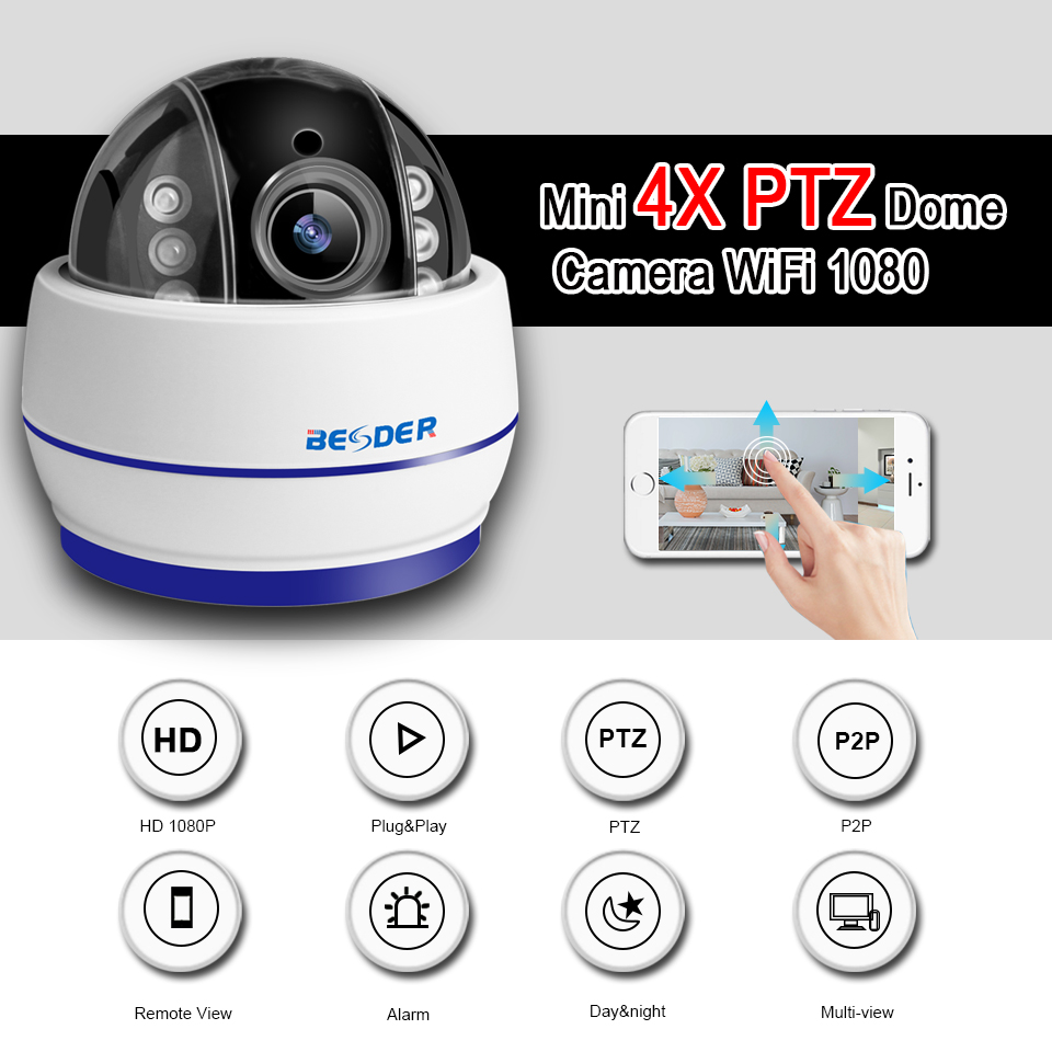 Image 3 - BESDER Wireless Speed Dome PTZ Wifi Camera HD 1080P 960P Auto Focus 5X Zoom 2.7 13.5mm Audio ONVIF P2P IP Camera SD Card Slot-in Surveillance Cameras from Security & Protection