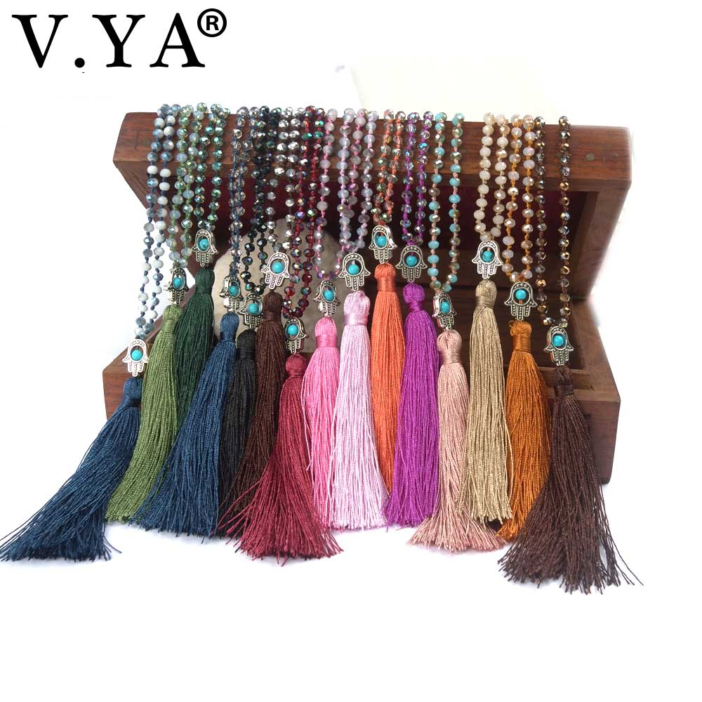 Friendship Boho Jewelry for Women Man Bohemia Handmade Necklace with Tassel and Palm Woman Crystal Necklace Pendant Chain