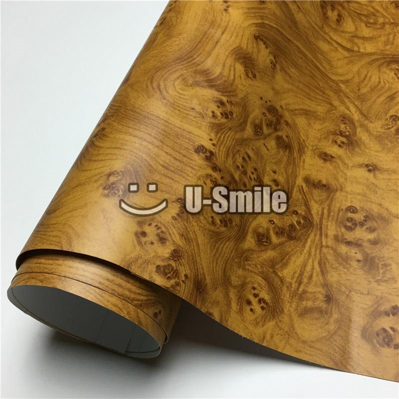 Envoltório de madeira do vinil do filme da textura do olho dos pássaros para a mobília da parede tamanho interior do carro: 1.24x50 m/rolo (4ftx165ft) - 2