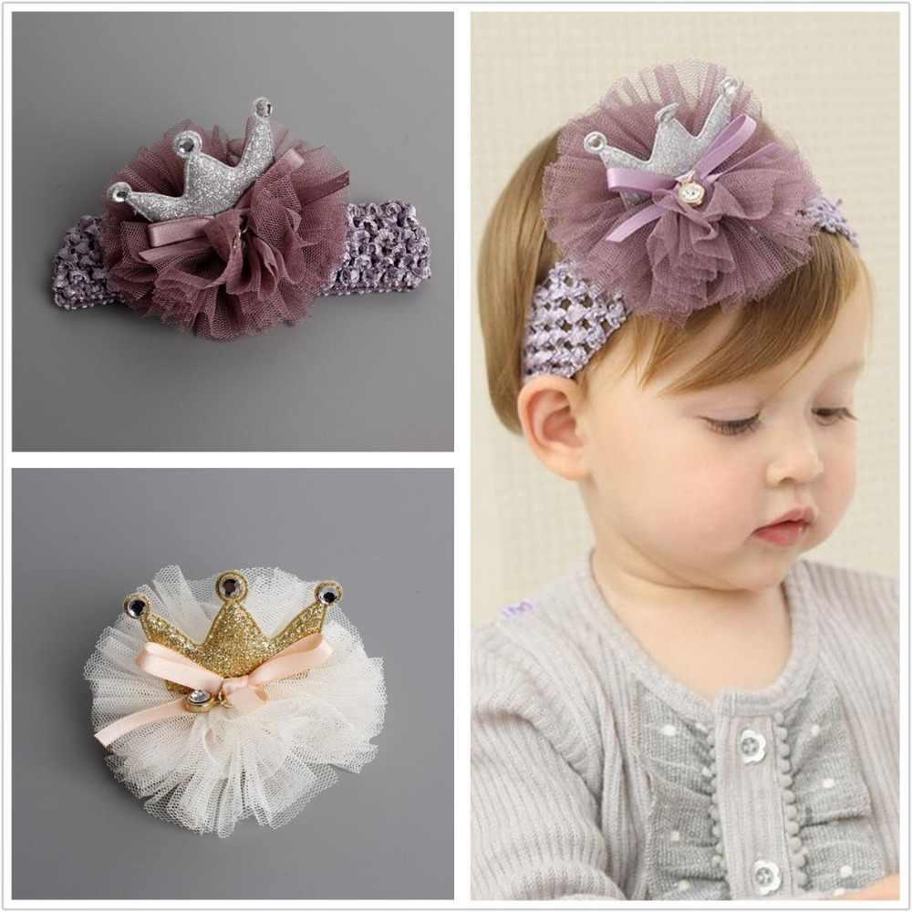 Kids Glitter light chiffon Crown hairpin Hair clips Newborn Toddlers tiara  Headbands gold pink headwear DIY 564ed320074