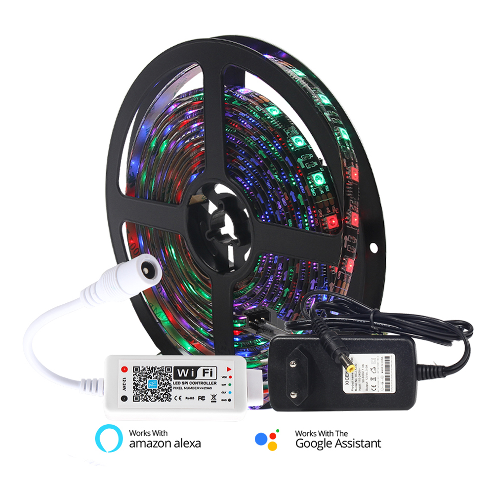 5M WS2811 5050 RGB 30/60 LEDs/M Full Color Programmable Individual Addressable 2811 Pixels LED Strip Light With Wifi Controller