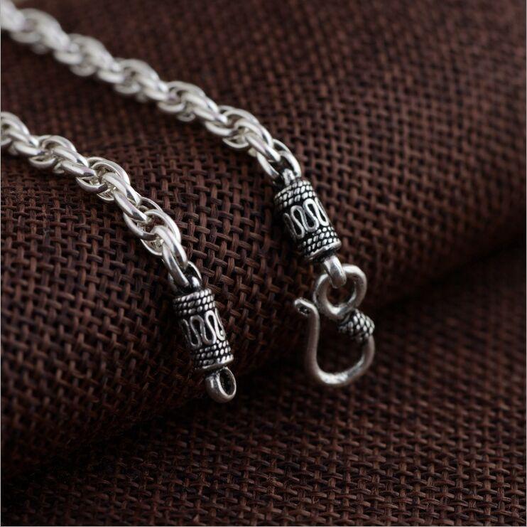 100% authentique 925 argent sterling antique artisanat hommes anneau S crochet chaîne Thai argent collier